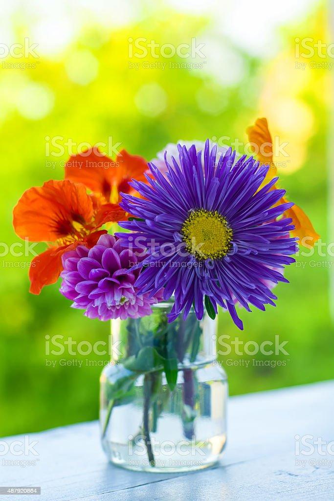 Autumn flowers bouquet stock photo