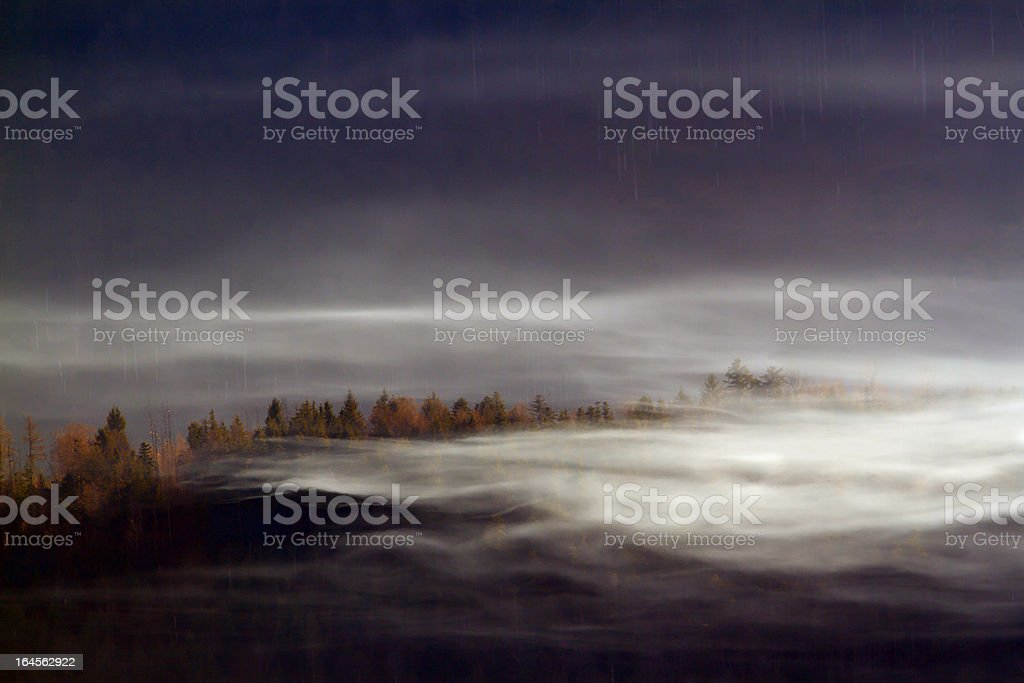 Autumn fog on the forests of fir tree ,average moun royalty-free stock photo