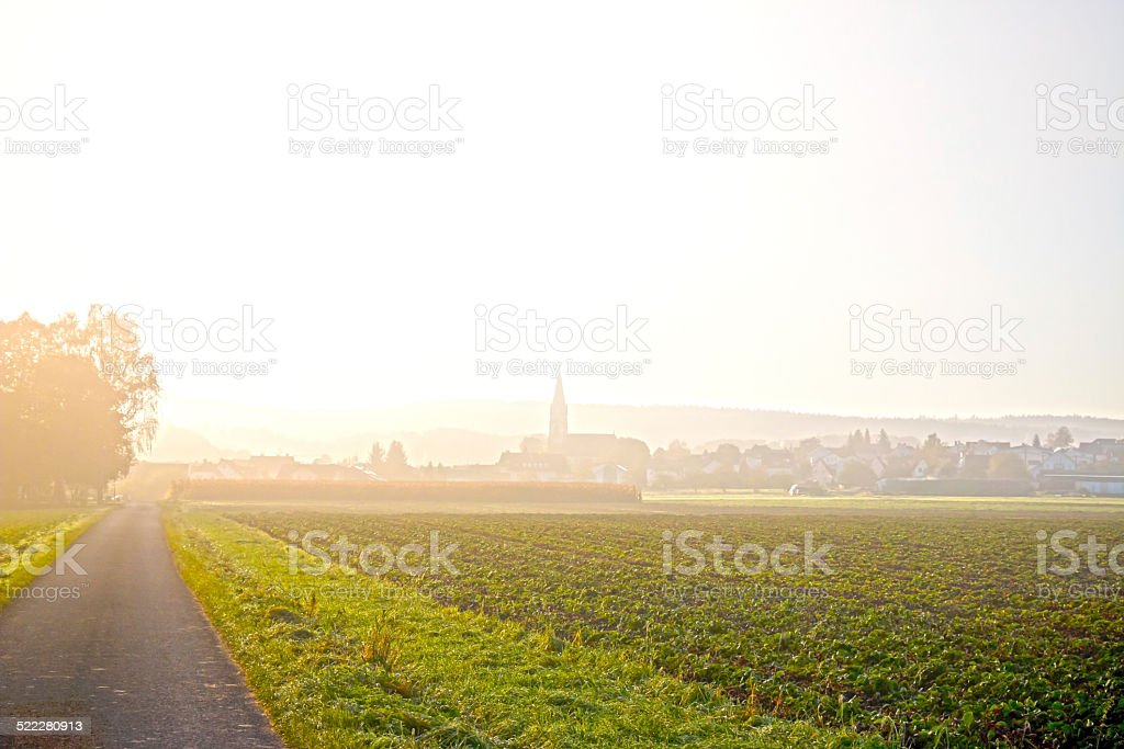Autumn fog over a village stock photo