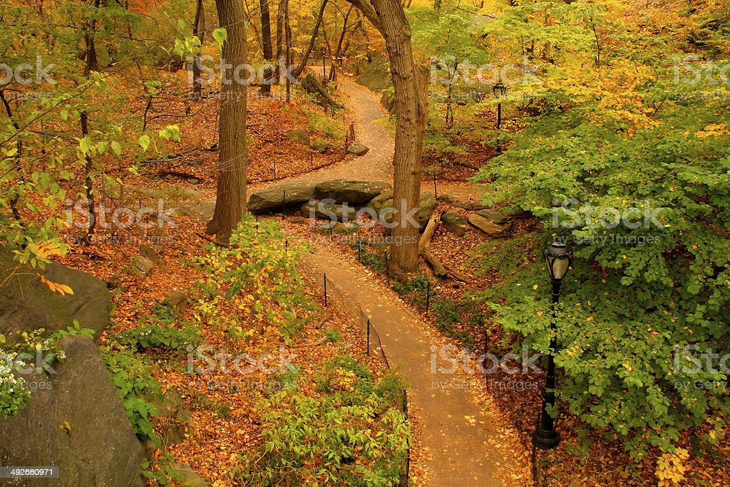 Autumn foliage path in New York Central Park, USA royalty-free stock photo