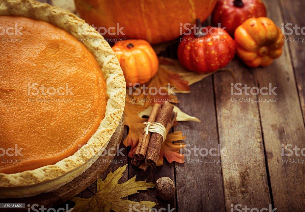 Autumn food - pumpkin pie stock photo