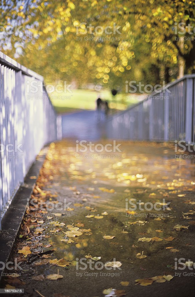Autumn footpath on a bridge - Sunny day, bokeh background royalty-free stock photo