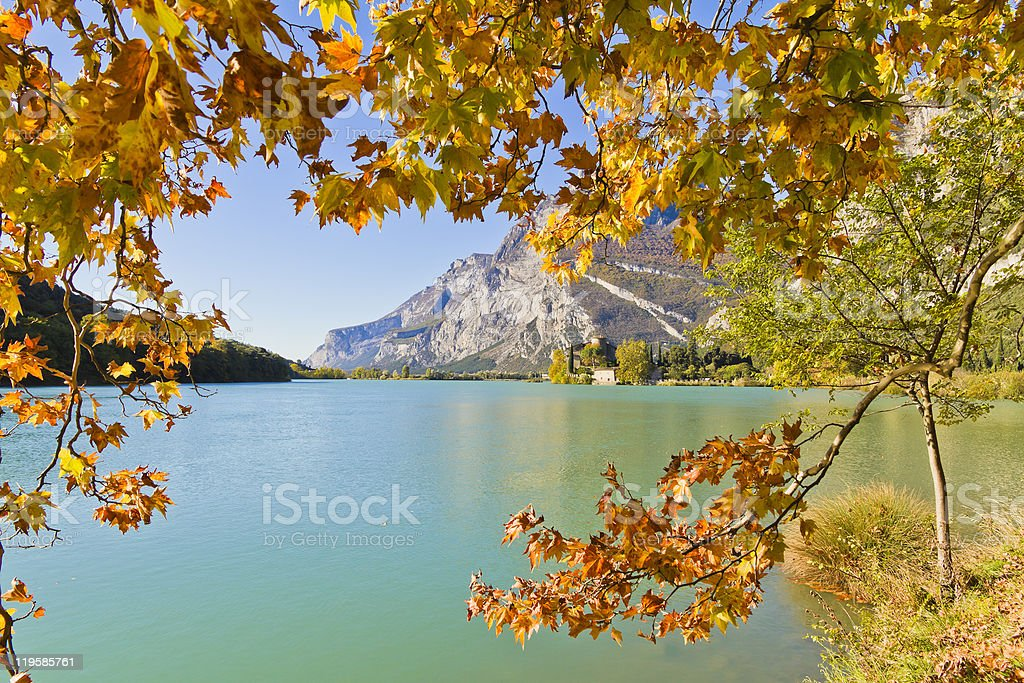 Autumn Frame Around Lake Toblino, Italy stock photo