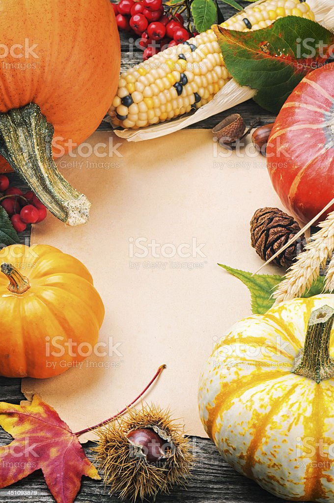 Autumn frame with pumpkins, corn and leaves royalty-free stock photo