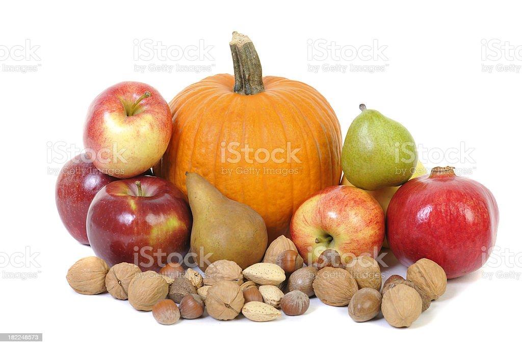 Autumn Fruit and Nut Arrangement stock photo