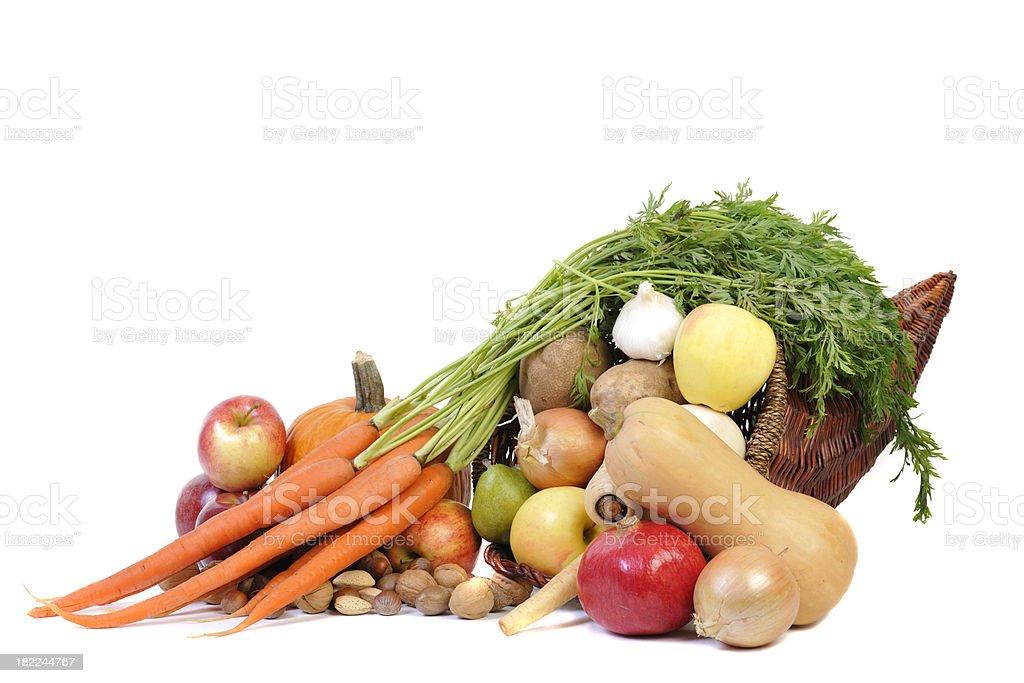 Autumn Fruit and Vegetable Cornucopia Oblique View stock photo