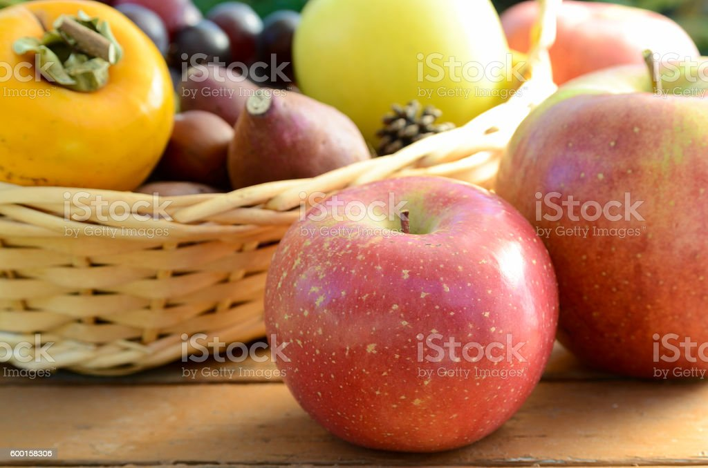 autumn fruits and vegetables harvested in a basket stock photo