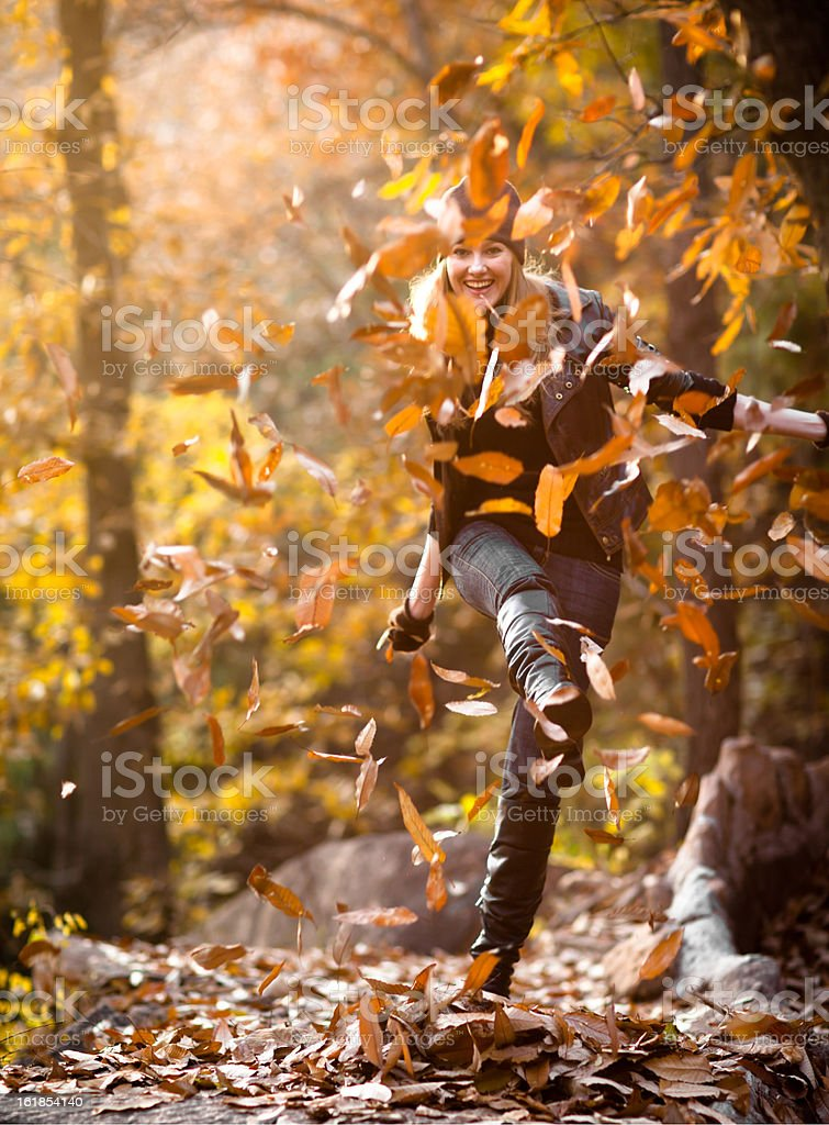 Autumn fun with leaves stock photo