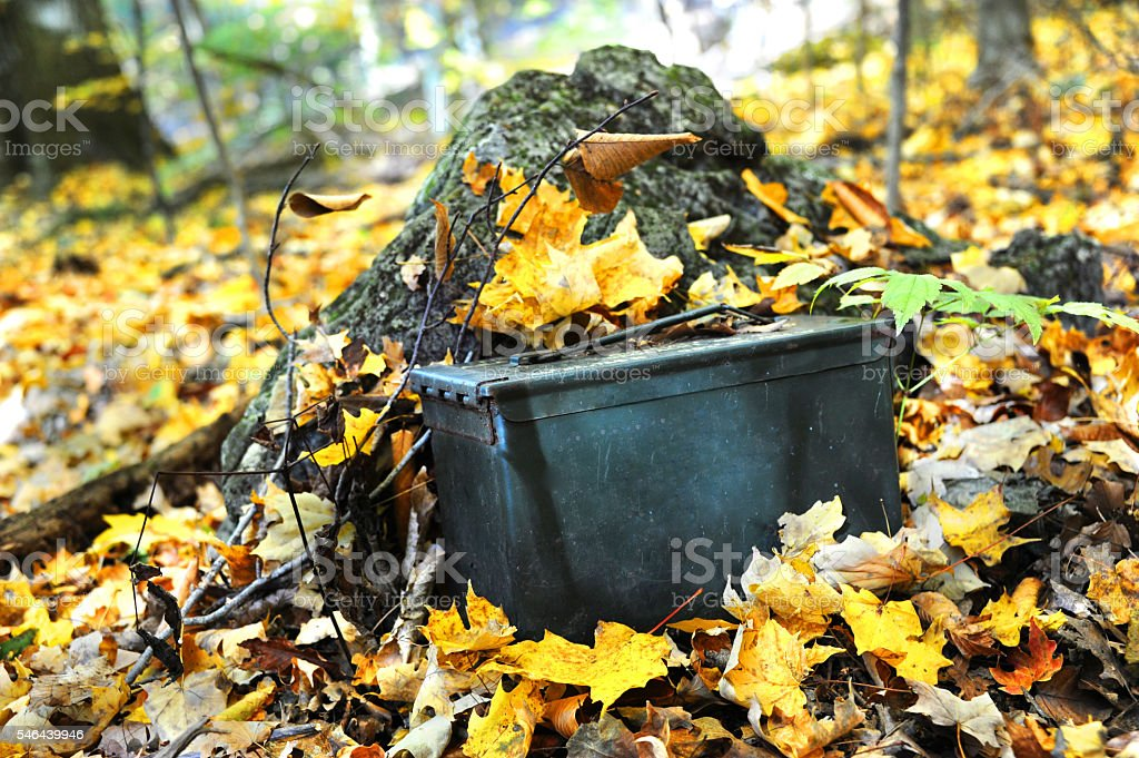 Autumn Geocaching stock photo