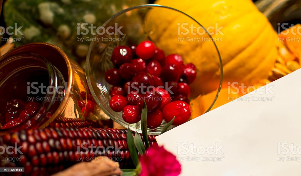 Autumn Gift Basket with Healthy Foods and Copy Space stock photo