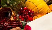 Autumn Gift Basket with Healthy Foods and Copy Space