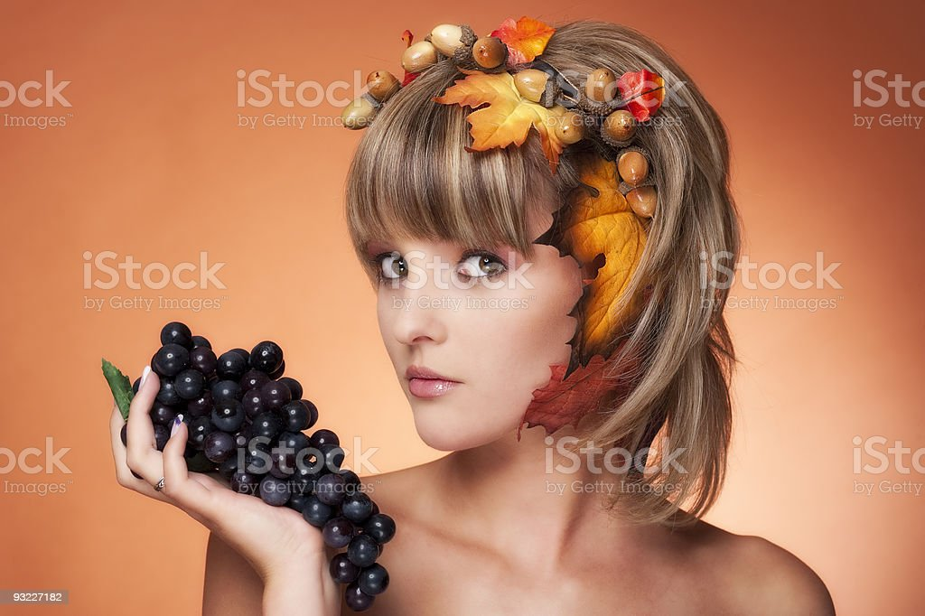 Autumn Girl - looking to the left side royalty-free stock photo