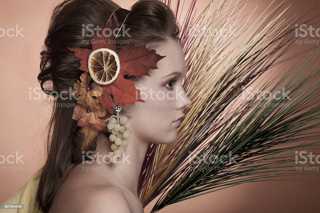 Autumn Girl - looking to the right side royalty-free stock photo