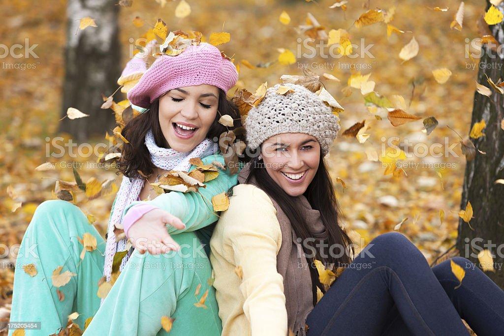 Autumn girls royalty-free stock photo