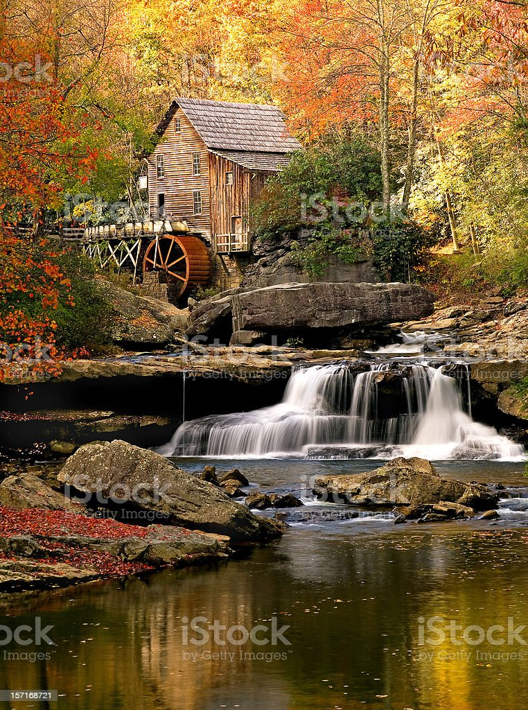 Autumn Glade Creek Mill, Babcock State Park, West Virginia stock photo
