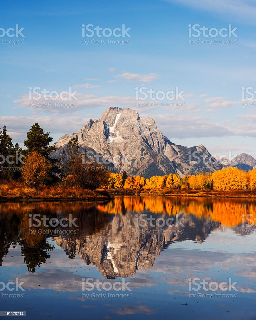 Autumn Glory at Oxbow Bend in GTNP stock photo