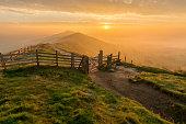 Autumn Golden Sunrise At Mam Tor In Peak District.