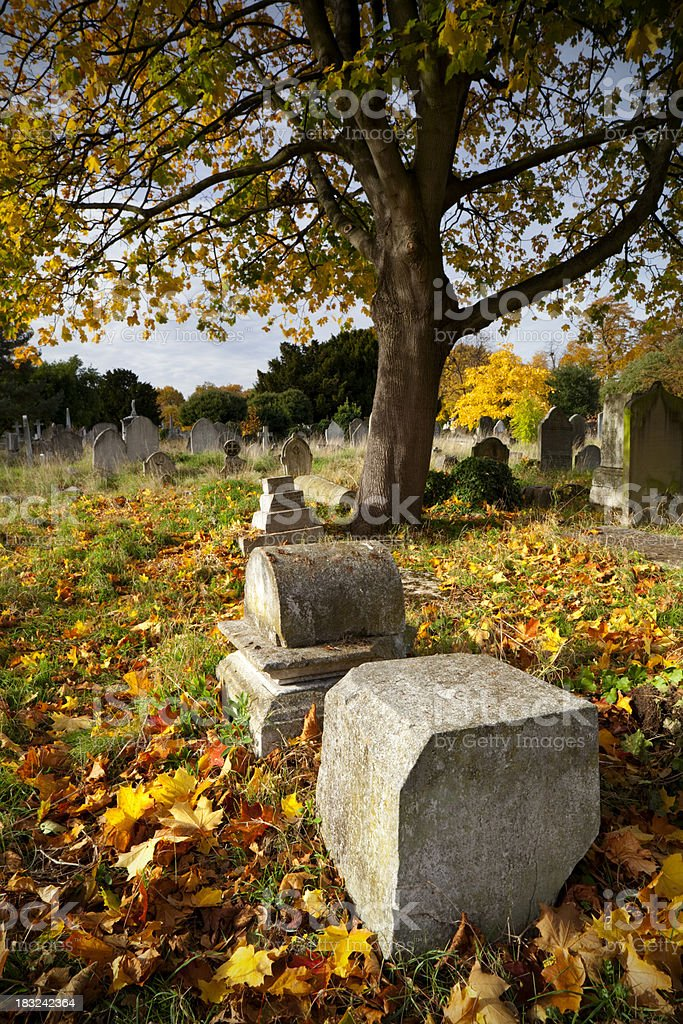 Autumn Gravestones stock photo