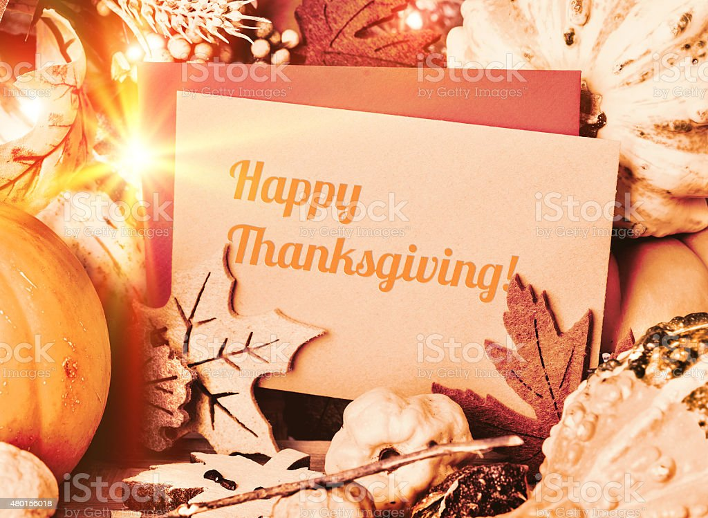 Autumn greeting card 'Happy Thanksgiving!' stock photo