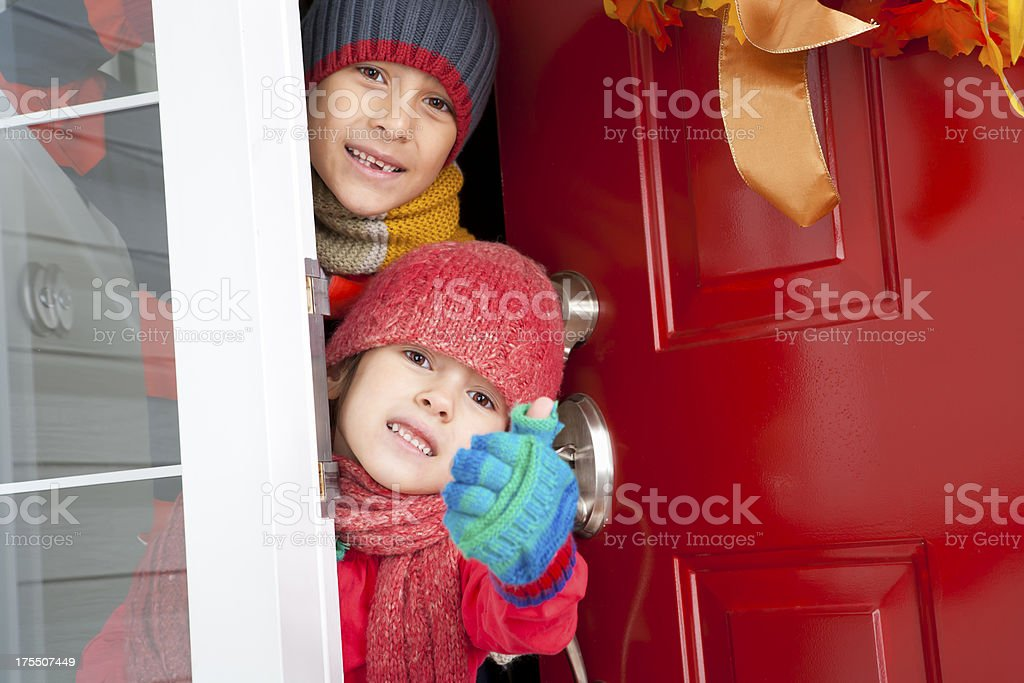 Autumn- Happy sibling giving thumbs up royalty-free stock photo