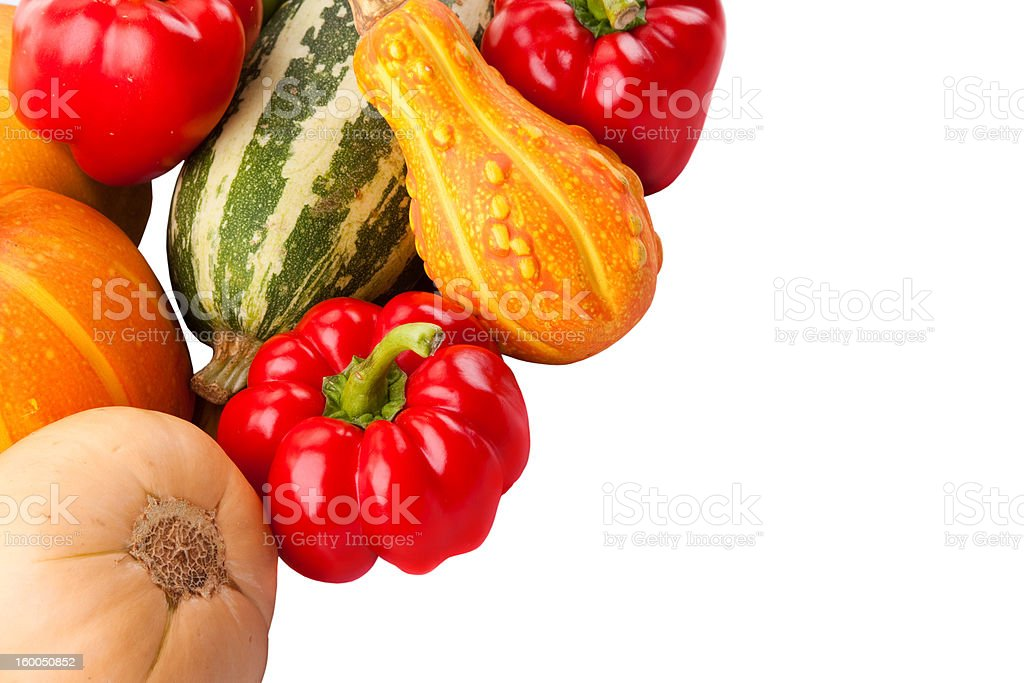 Autumn harvest on isolated white royalty-free stock photo