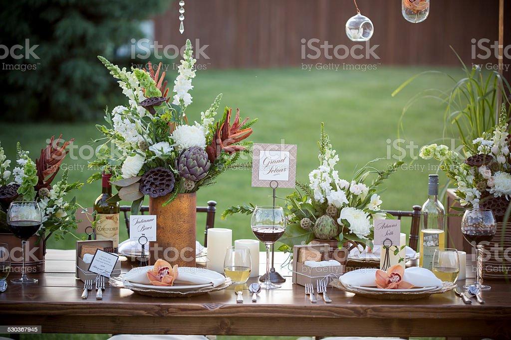 Autumn Harvest Succulent Table Decorations stock photo