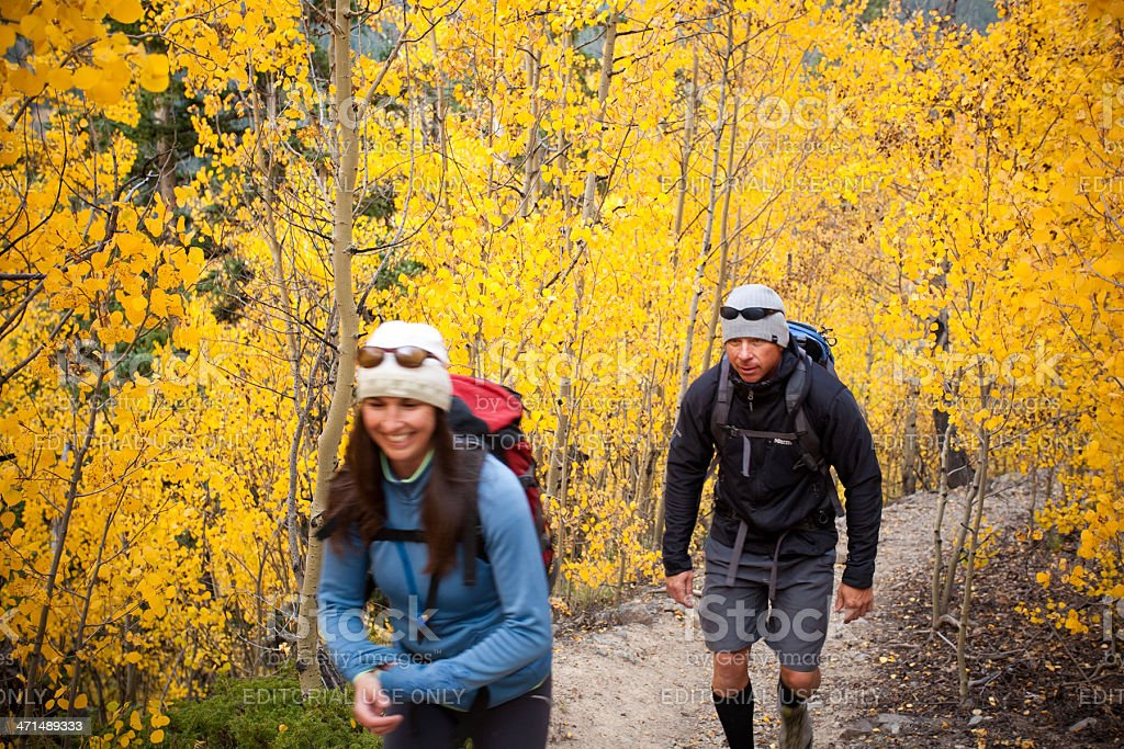 autumn hiking landscape relationship royalty-free stock photo