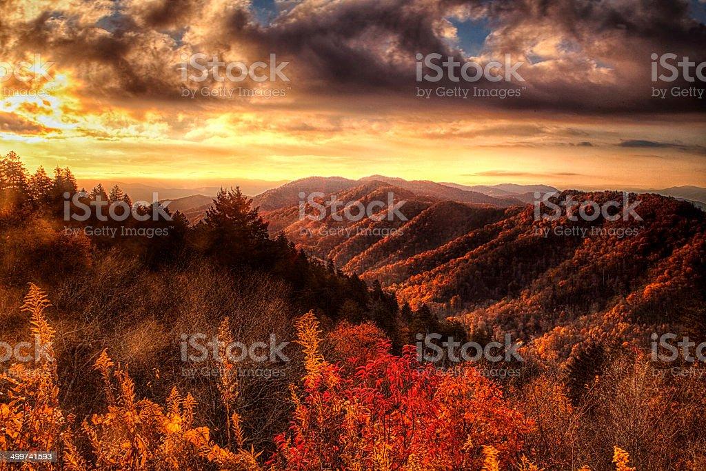 Autumn Hillsides in the Smokies stock photo