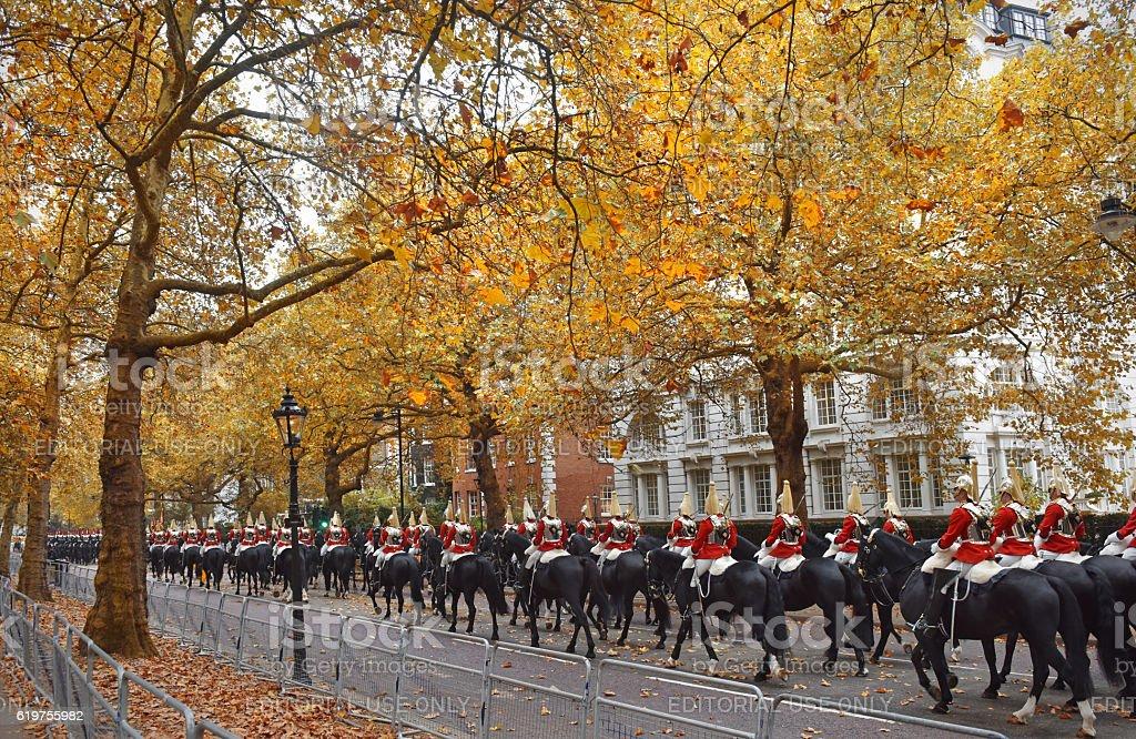 Autumn Horsegurads stock photo