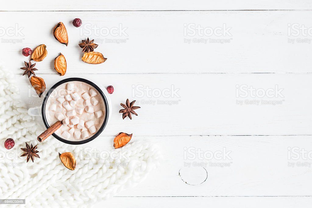 Autumn. Hot chocolate, knitted blanket, dried flowers and leaves stock photo