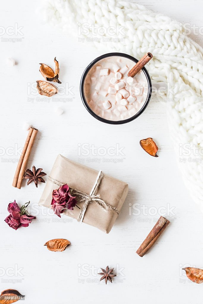 Autumn. Hot chocolate, knitted blanket, gift, dried flowers and leaves stock photo