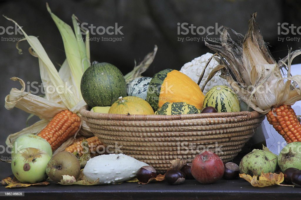 Autumn in a basket stock photo