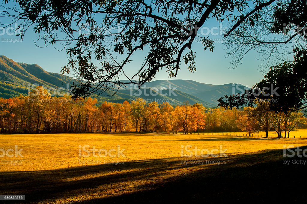 Autumn in Cades Cove at Great Smoky Mountains stock photo