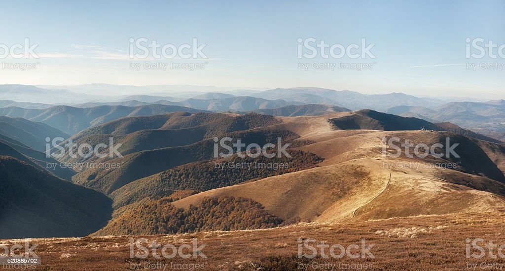 Autumn in Carpathian mountains. Borzhava ridge. National park of Ukraine stock photo