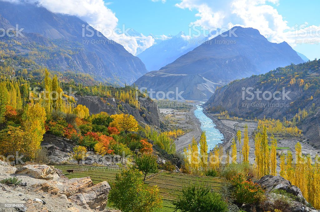 Autumn in Hunza valley , Pakistan stock photo