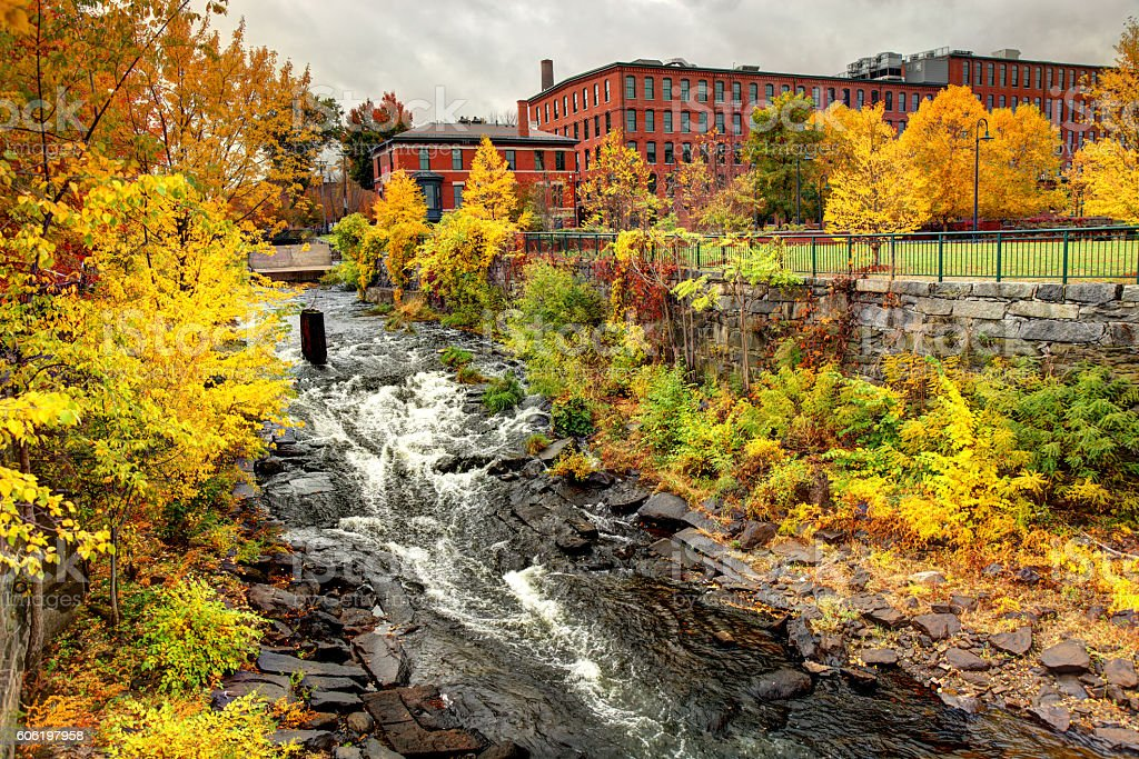 Autumn in Lowell Massachusetts stock photo