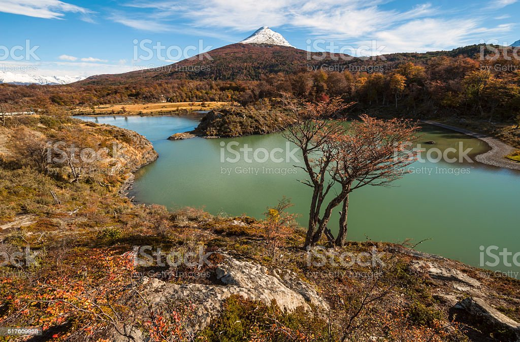 Autumn in Patagonia. Tierra del Fuego, Beagle Channel stock photo