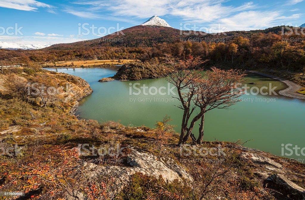 Autumn in Patagonia. Tierra del Fuego, Beagle Channel stock photo