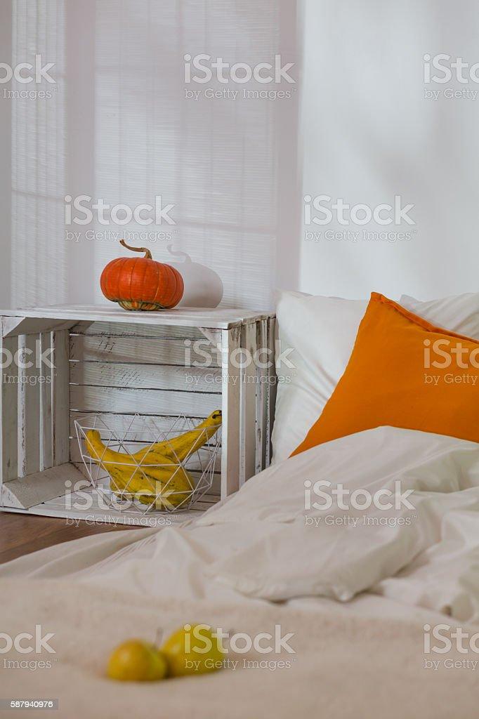 Autumn in simple bedroom stock photo