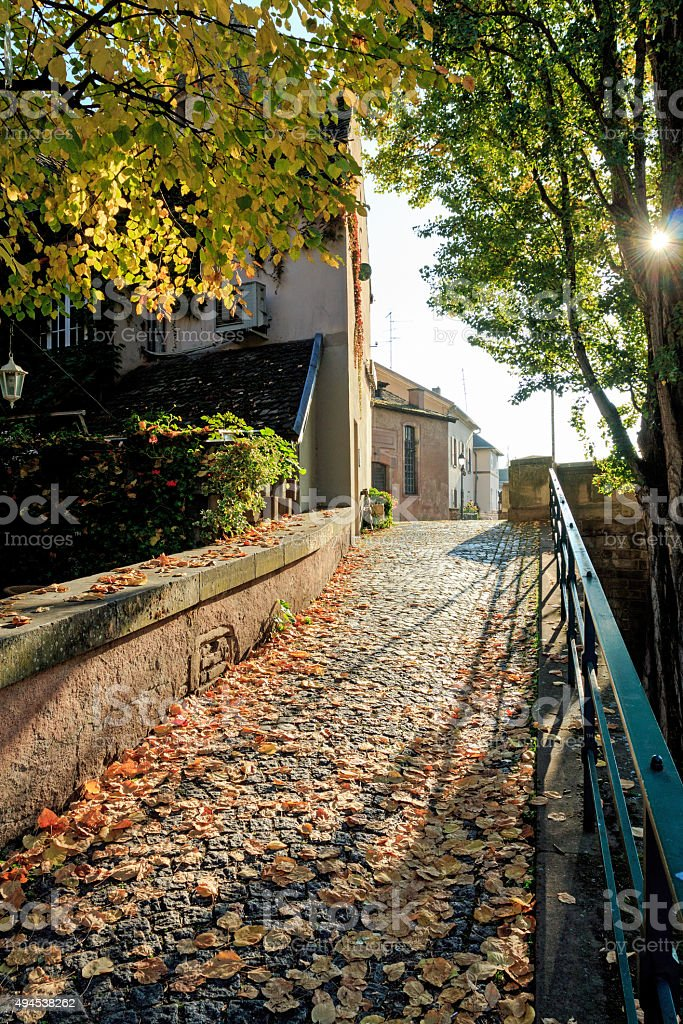 Autumn in Strasbourg: Picturesque alley in the quarter La-Petite-France stock photo