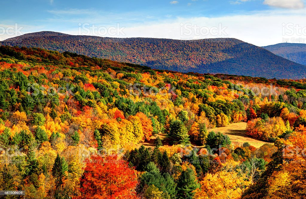 Autumn in the Berkshires region of Massachusetts stock photo