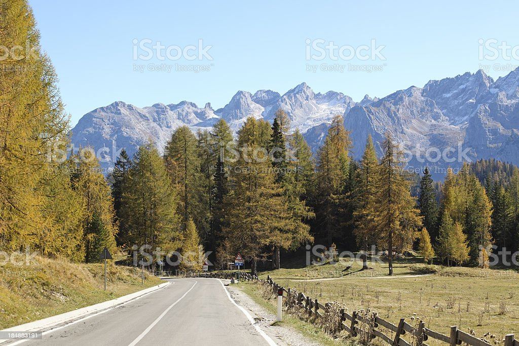 Autumn in the Dolomites, Marmarole mountain group Veneto Italy royalty-free stock photo