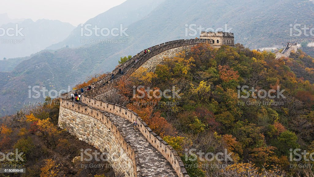 Autumn in the Great Wall of Beijing, China stock photo