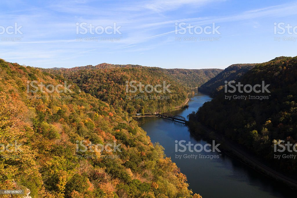 Autumn in the New River Gorge West Virginia stock photo