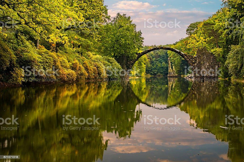 autumn in the park Kromlau, rhododendrons valley, Devil's bridge stock photo