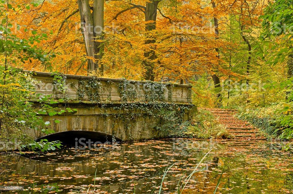 Autumn in the park, old bridge royalty-free stock photo