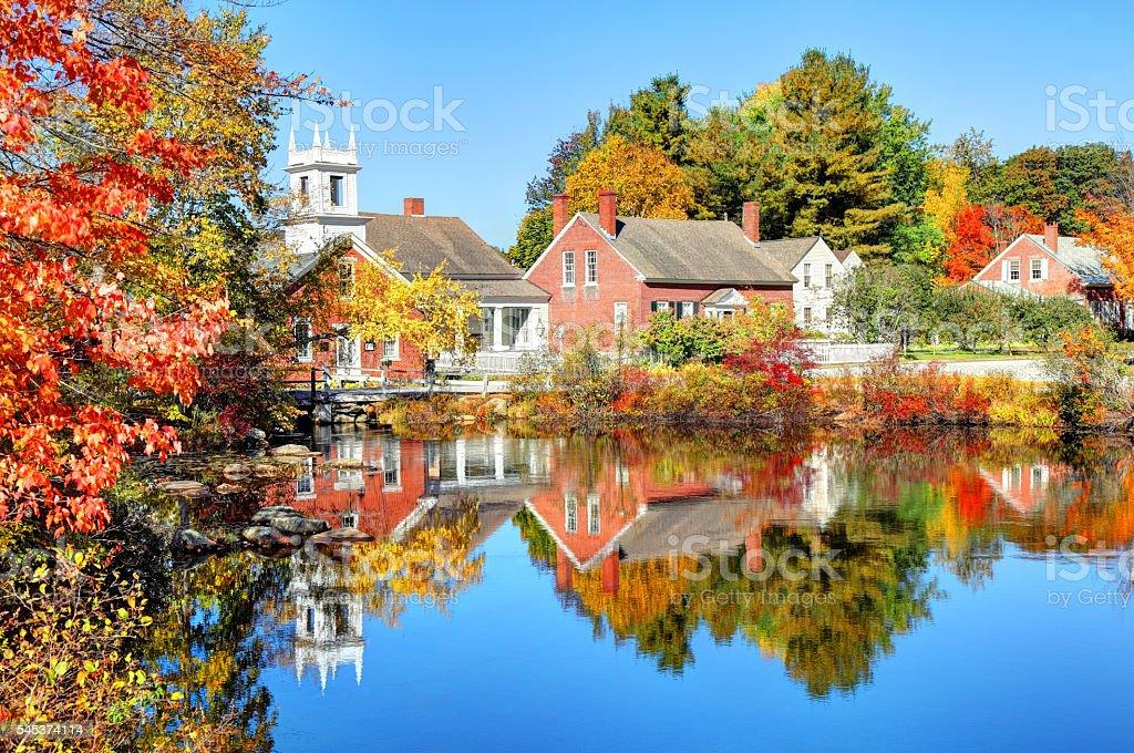 Autumn in the quaint village of Harrisville New Hampshire stock photo