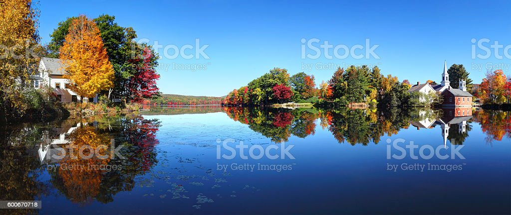 Autumn in the quaint village of Harrisville New Hampshire stock photo