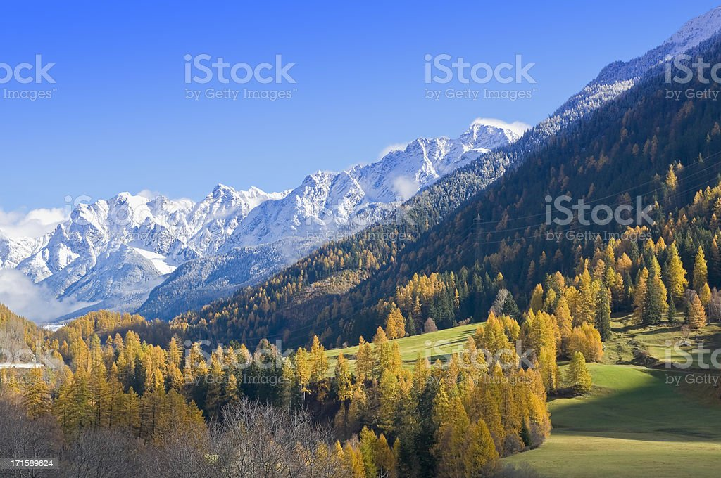 Autumn in the Swiss Mountains, near Davos stock photo