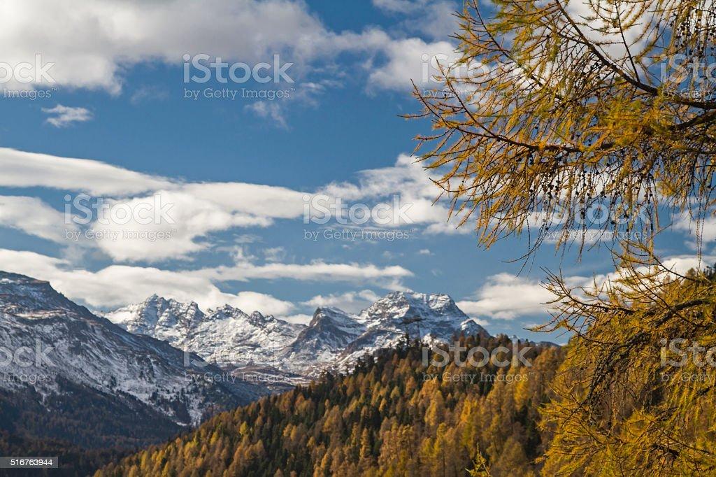 Autumn in the Upper Engadine stock photo